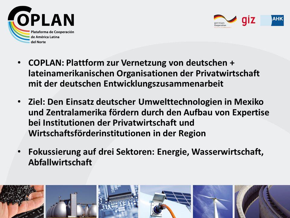 COPLAN wird von der Deutschen Gesellschaft für Internationale Zusammenarbeit (GIZ) GmbH im Auftrag des BMZ gemeinsam mit den Aussenhandelskammern in der Region koordiniert.