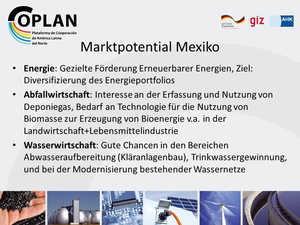 Marktpotential Mexiko Energie: Gezielte Förderung Erneuerbarer Energien, Ziel: Diversifizierung des Energieportfolios Abfallwirtschaft: Interesse an d
