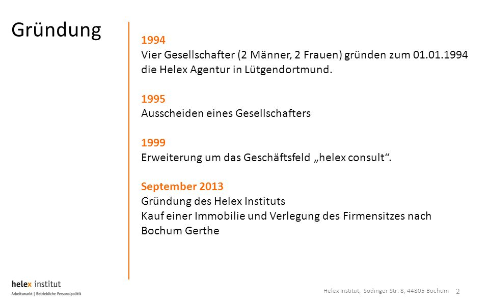 Gründung 2 1994 Vier Gesellschafter (2 Männer, 2 Frauen) gründen zum 01.01.1994 die Helex Agentur in Lütgendortmund. 1995 Ausscheiden eines Gesellscha