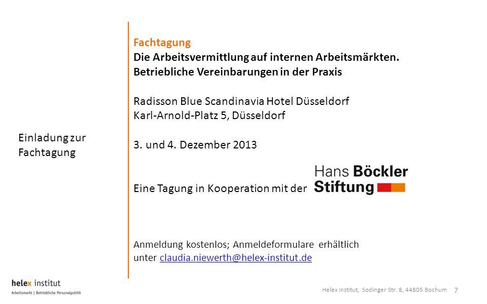 Einladung zur Fachtagung 7 Fachtagung Die Arbeitsvermittlung auf internen Arbeitsmärkten. Betriebliche Vereinbarungen in der Praxis Radisson Blue Scan