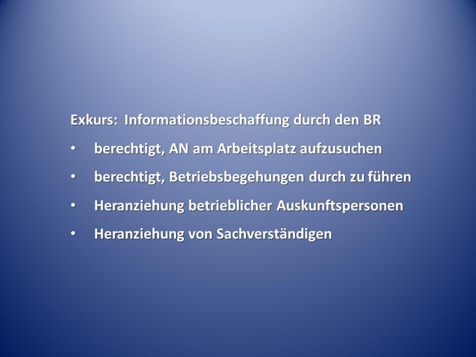 Exkurs: Informationsbeschaffung durch den BR berechtigt, AN am Arbeitsplatz aufzusuchen berechtigt, AN am Arbeitsplatz aufzusuchen berechtigt, Betrieb