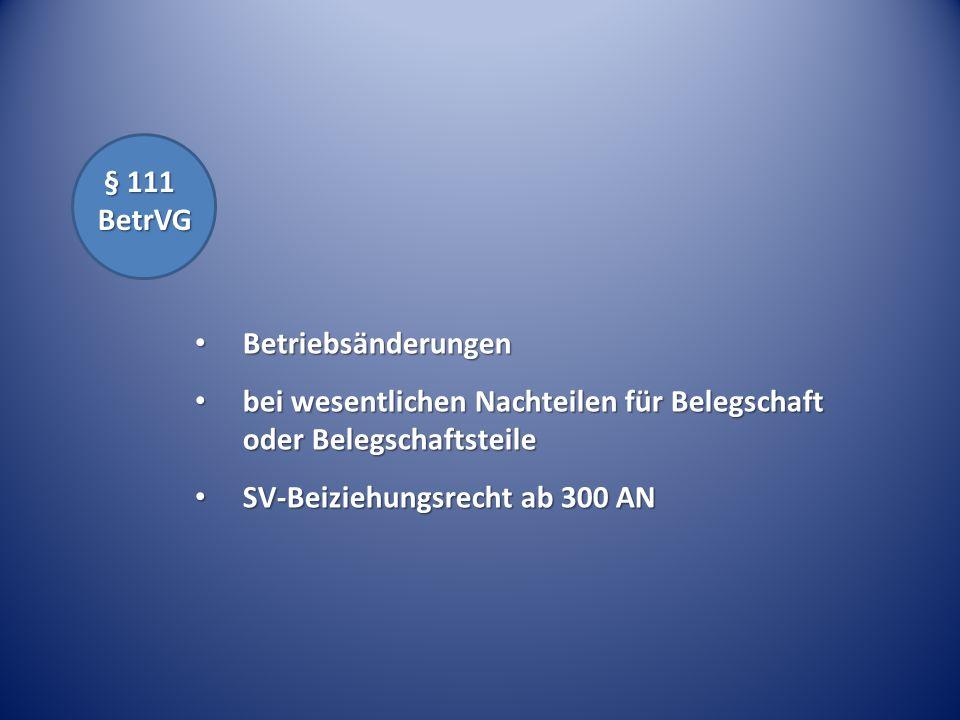 § 111 BetrVG § 111 BetrVG Betriebsänderungen Betriebsänderungen bei wesentlichen Nachteilen für Belegschaft oder Belegschaftsteile bei wesentlichen Na