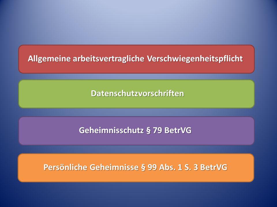 Allgemeine arbeitsvertragliche Verschwiegenheitspflicht Datenschutzvorschriften Geheimnisschutz § 79 BetrVG Persönliche Geheimnisse § 99 Abs. 1 S. 3 B