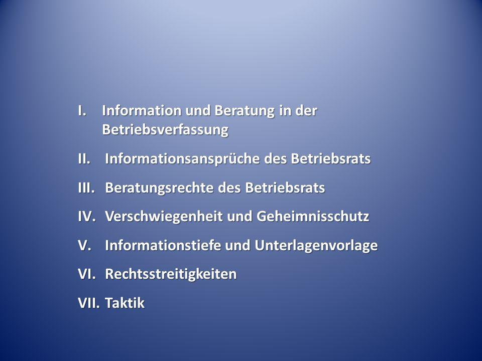 I. Information und Beratung in der Betriebsverfassung II.Informationsansprüche des Betriebsrats III.Beratungsrechte des Betriebsrats IV.Verschwiegenhe