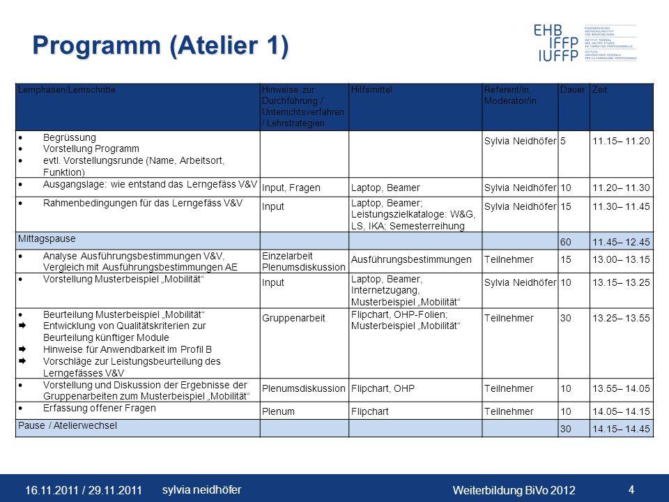 16.11.2011 / 29.11.2011Weiterbildung BiVo 2012 15sylvia neidhöfer Zielsetzungen V&V (3/5) Zielsetzungen IKA Fördern und Stärken von grundlegenden Fähigkeiten im Bereich der folgenden betriebsrelevanten Prozesse (Richtziele im Betrieb gemäss Bildungsplan) 1.1.2 Aufträge abwickeln 1.1.7 Administrative und organisatorische Tätigkeiten ausüben Zielsetzungen LS Fördern und Stärken von Fähigkeiten im Bereich der Kommunikation mit Kunden (betriebliches Richtziel 1.1.1, Kunden beraten) und anderen Anspruchsgruppen einer Unternehmung.