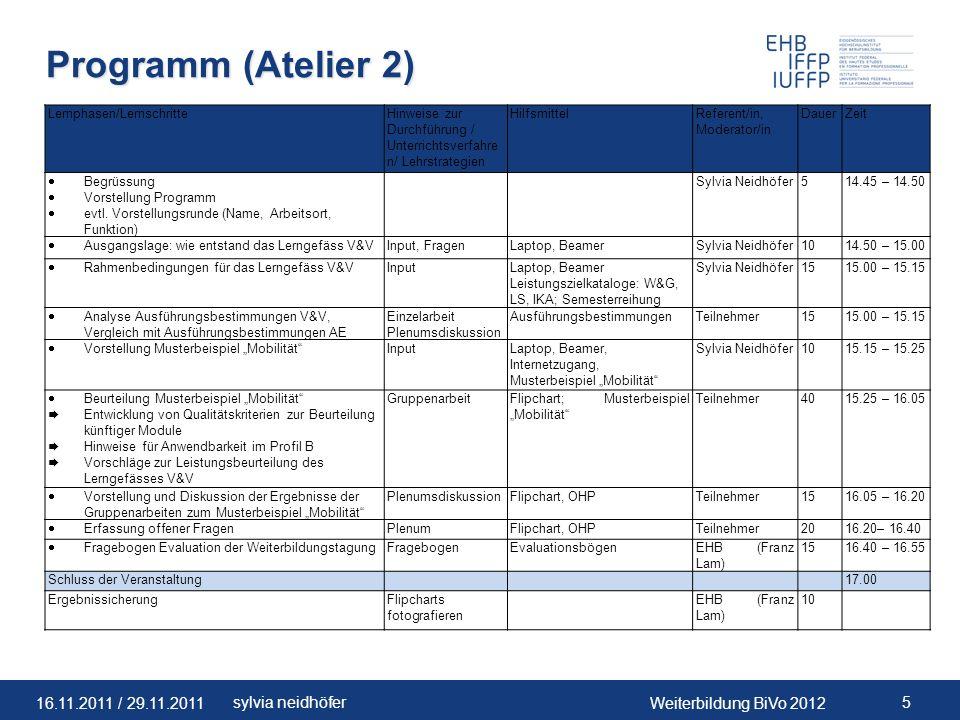 16.11.2011 / 29.11.2011Weiterbildung BiVo 2012 26sylvia neidhöfer 8 grundlegende Schritte (gem.