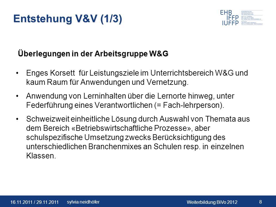 16.11.2011 / 29.11.2011Weiterbildung BiVo 2012 9sylvia neidhöfer Entstehung V&V (2/3) Integration von prozessorientierten Ausbildungseinheiten.