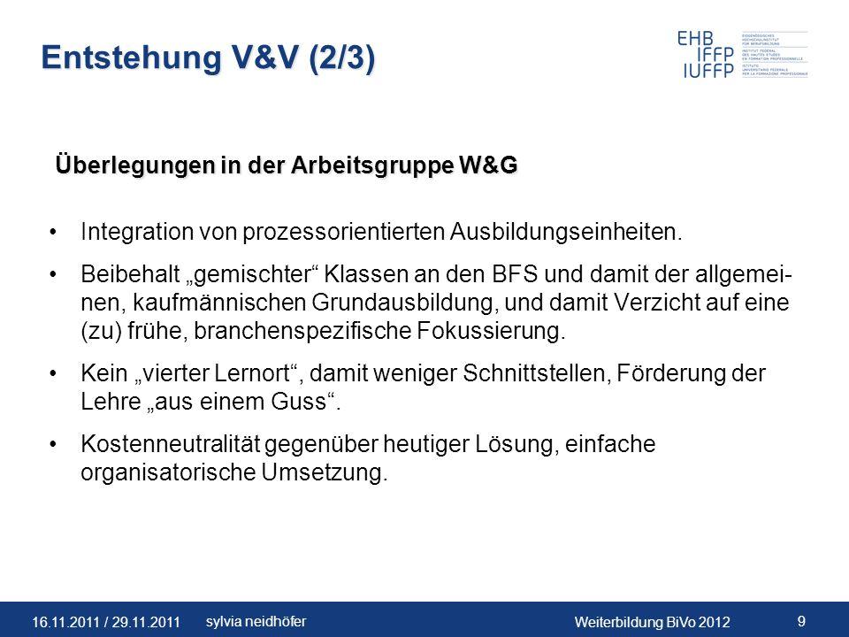 16.11.2011 / 29.11.2011Weiterbildung BiVo 2012 20sylvia neidhöfer Entwicklung V&V-Module Projektbeschrieb zur Entwicklung von Modulen V&V während Reform (16.