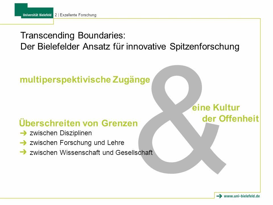 Transcending Boundaries: Der Bielefelder Ansatz für innovative Spitzenforschung 2   Exzellente Forschung & multiperspektivische Zugänge eine Kultur der Offenheit Überschreiten von Grenzen zwischen Disziplinen zwischen Forschung und Lehre zwischen Wissenschaft und Gesellschaft