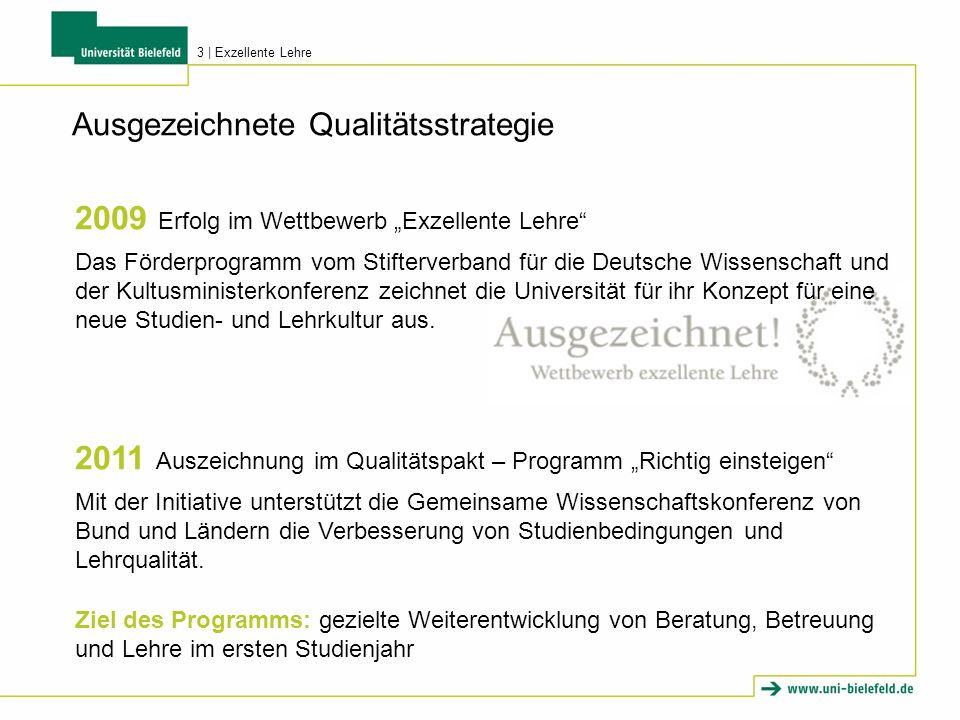 Ausgezeichnete Qualitätsstrategie 2009 Erfolg im Wettbewerb Exzellente Lehre Das Förderprogramm vom Stifterverband für die Deutsche Wissenschaft und der Kultusministerkonferenz zeichnet die Universität für ihr Konzept für eine neue Studien- und Lehrkultur aus.