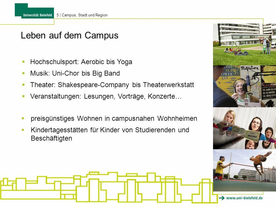 5 | Campus, Stadt und Region Hochschulsport: Aerobic bis Yoga Musik: Uni-Chor bis Big Band Theater: Shakespeare-Company bis Theaterwerkstatt Veranstal