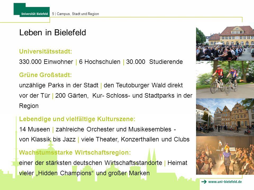 Universitätsstadt: 330.000 Einwohner | 6 Hochschulen | 30.000 Studierende Grüne Großstadt: unzählige Parks in der Stadt | den Teutoburger Wald direkt