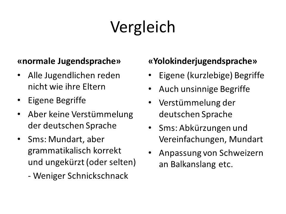 Vergleich «normale Jugendsprache» Alle Jugendlichen reden nicht wie ihre Eltern Eigene Begriffe Aber keine Verstümmelung der deutschen Sprache Sms: Mu