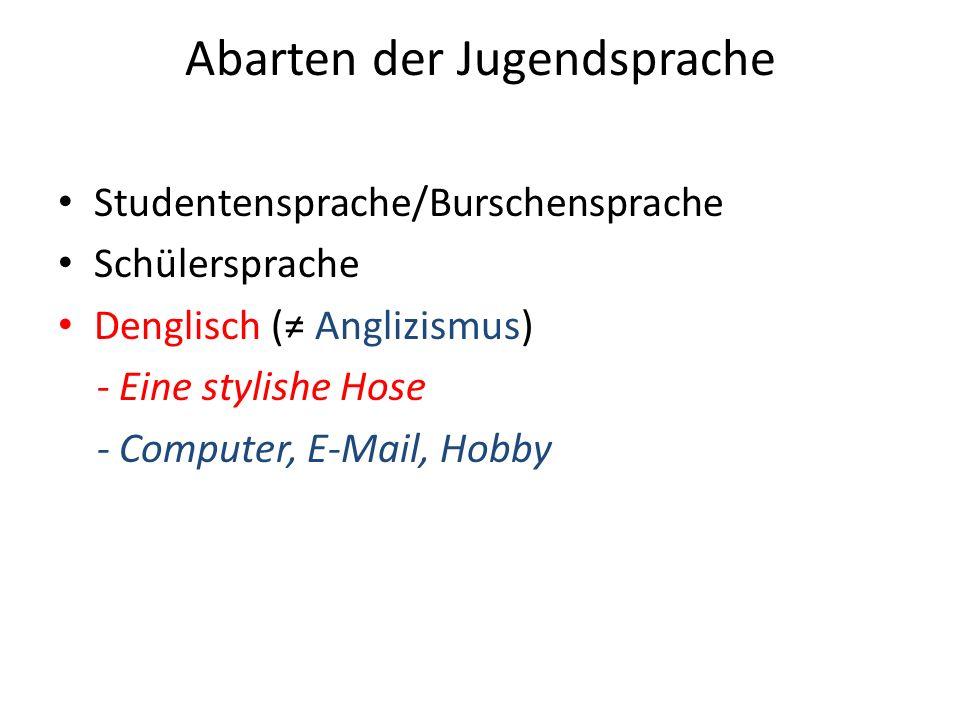 Abarten der Jugendsprache Studentensprache/Burschensprache Schülersprache Denglisch ( Anglizismus) - Eine stylishe Hose - Computer, E-Mail, Hobby
