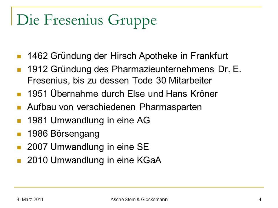Die Fresenius Gruppe 2010 Über 130.000 Mitarbeiter Knapp 16 Milliarden EUR Umsatz in der Fresenius SE Über 12 Milliarden EUR Umsatz in der Fresenius Medical Care KGaA 2,4 Milliarden EUR Ergebnis der Fresenius SE 1,9 Milliarden EUR Ergebnis Fresenius Medical Care KGaA 4.