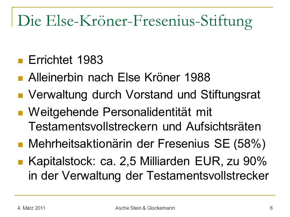 Die Else-Kröner-Fresenius-Stiftung Errichtet 1983 Alleinerbin nach Else Kröner 1988 Verwaltung durch Vorstand und Stiftungsrat Weitgehende Personalide