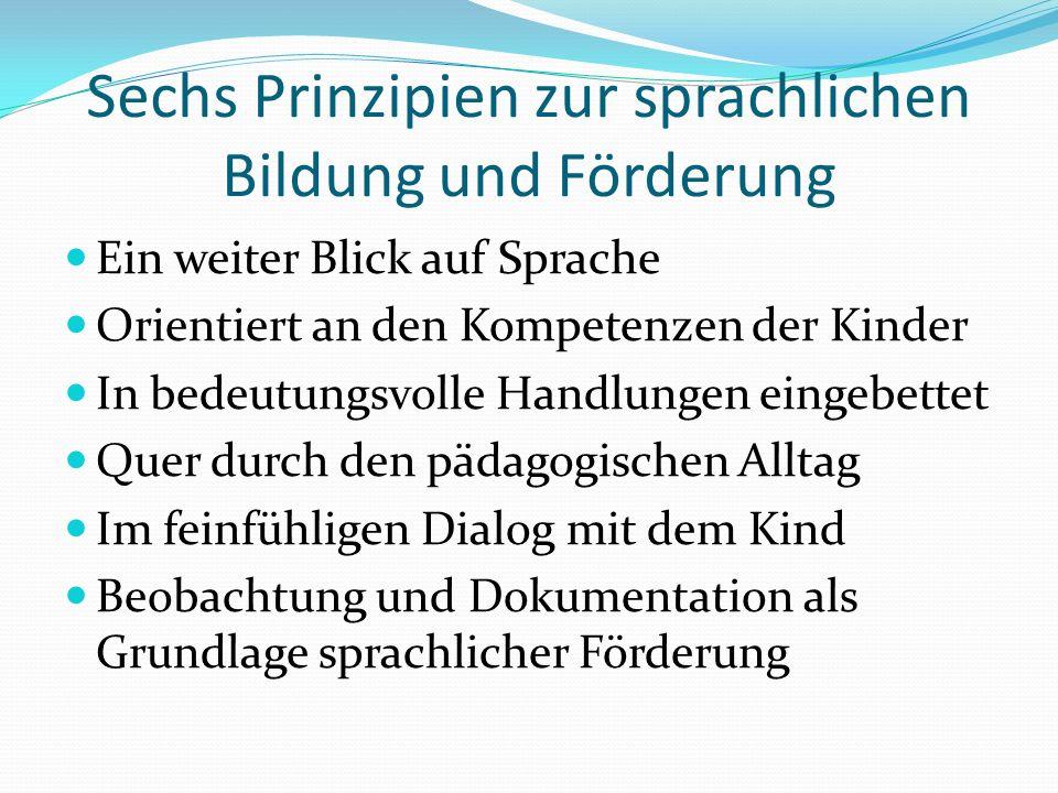 Sechs Prinzipien zur sprachlichen Bildung und Förderung Ein weiter Blick auf Sprache Orientiert an den Kompetenzen der Kinder In bedeutungsvolle Handl