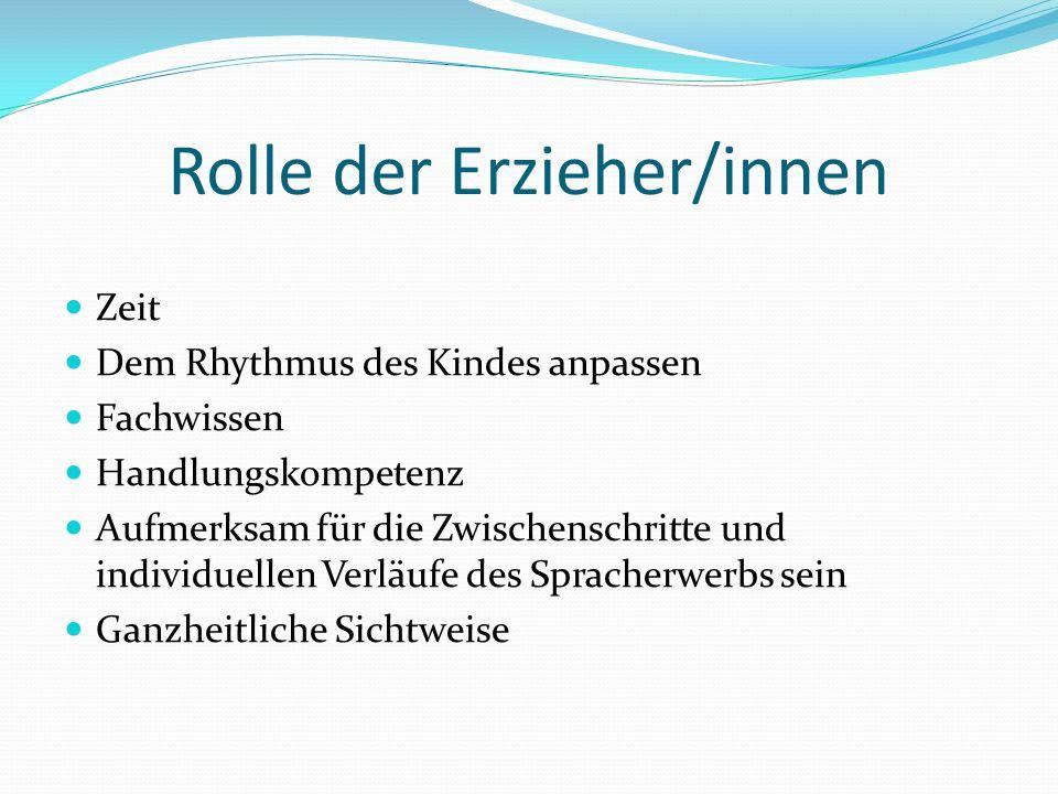 Rolle der Erzieher/innen Zeit Dem Rhythmus des Kindes anpassen Fachwissen Handlungskompetenz Aufmerksam für die Zwischenschritte und individuellen Ver