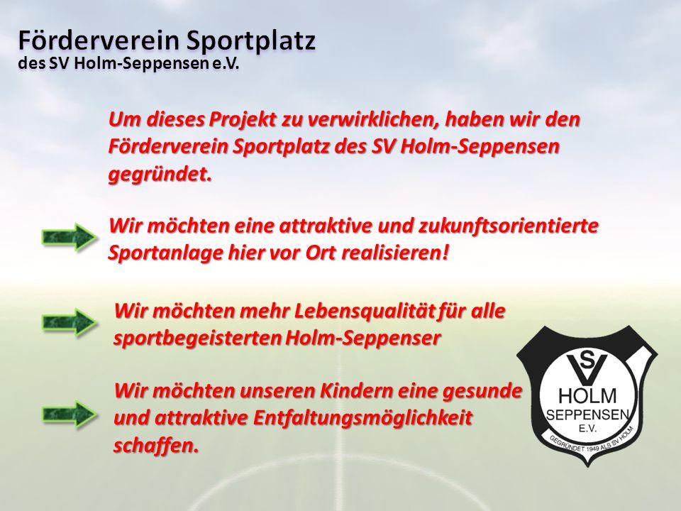 Um dieses Projekt zu verwirklichen, haben wir den Förderverein Sportplatz des SV Holm-Seppensen gegründet. Wir möchten eine attraktive und zukunftsori
