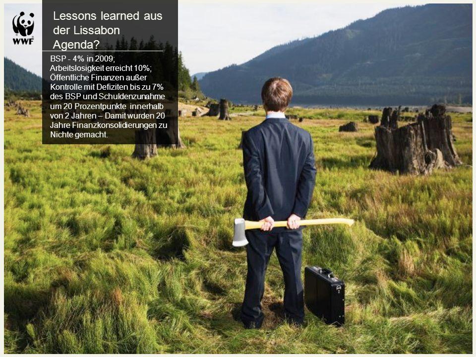 Lessons learned aus der Lissabon Agenda? BSP - 4% in 2009; Arbeitslosigkeit erreicht 10%; Öffentliche Finanzen außer Kontrolle mit Defiziten bis zu 7%