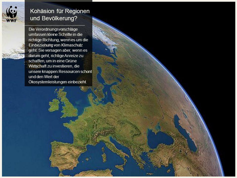 Kohäsion für Regionen und Bevölkerung? Die Verordnungsvorschläge umfassen kleine Schritte in die richtige Richtung, wenn es um die Einbeziehung von Kl