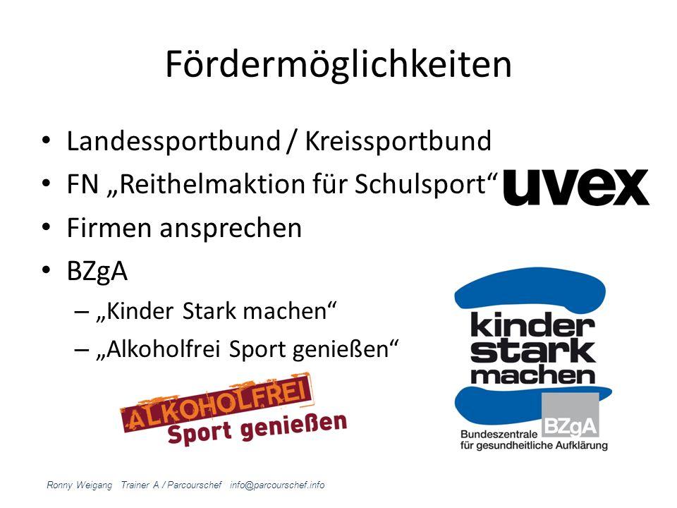 Fördermöglichkeiten Landessportbund / Kreissportbund FN Reithelmaktion für Schulsport Firmen ansprechen BZgA – Kinder Stark machen – Alkoholfrei Sport