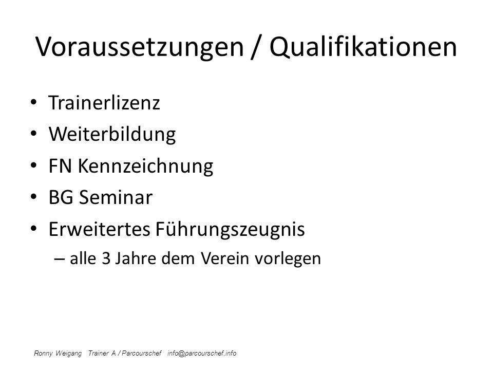 Voraussetzungen / Qualifikationen Trainerlizenz Weiterbildung FN Kennzeichnung BG Seminar Erweitertes Führungszeugnis – alle 3 Jahre dem Verein vorleg