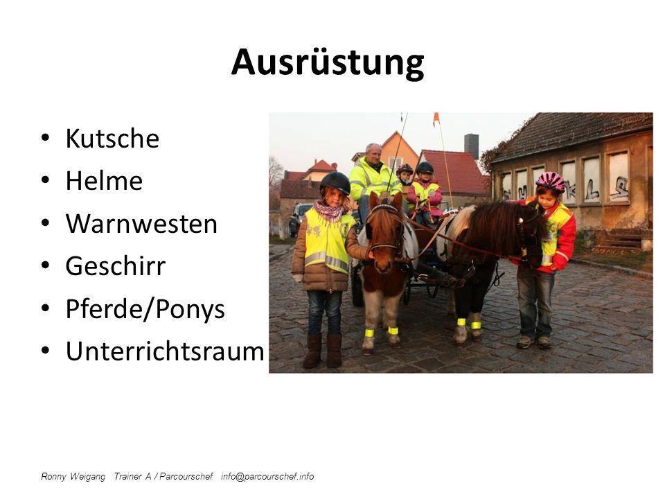 Ausrüstung Kutsche Helme Warnwesten Geschirr Pferde/Ponys Unterrichtsraum Ronny Weigang Trainer A / Parcourschef info@parcourschef.info Verkehrssicher