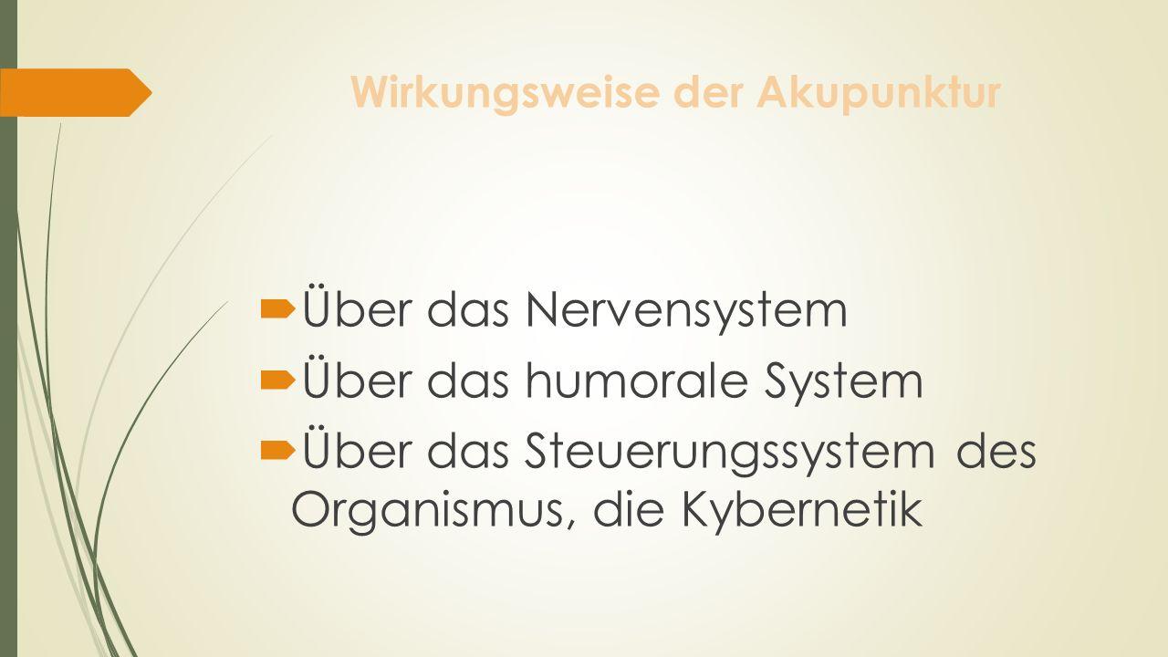 Wirkungsweise der Akupunktur Über das Nervensystem Über das humorale System Über das Steuerungssystem des Organismus, die Kybernetik