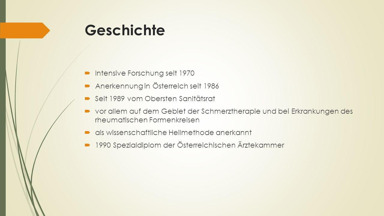 Geschichte Intensive Forschung seit 1970 Anerkennung in Österreich seit 1986 Seit 1989 vom Obersten Sanitätsrat vor allem auf dem Gebiet der Schmerzth