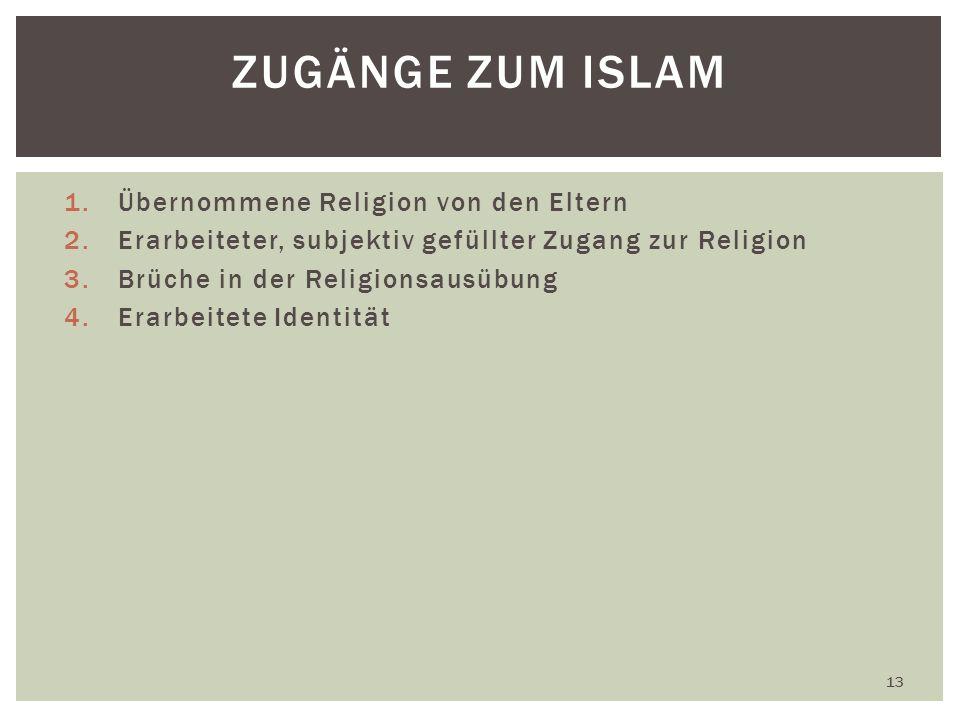 1.Übernommene Religion von den Eltern 2.Erarbeiteter, subjektiv gefüllter Zugang zur Religion 3.Brüche in der Religionsausübung 4.Erarbeitete Identität 13 ZUGÄNGE ZUM ISLAM