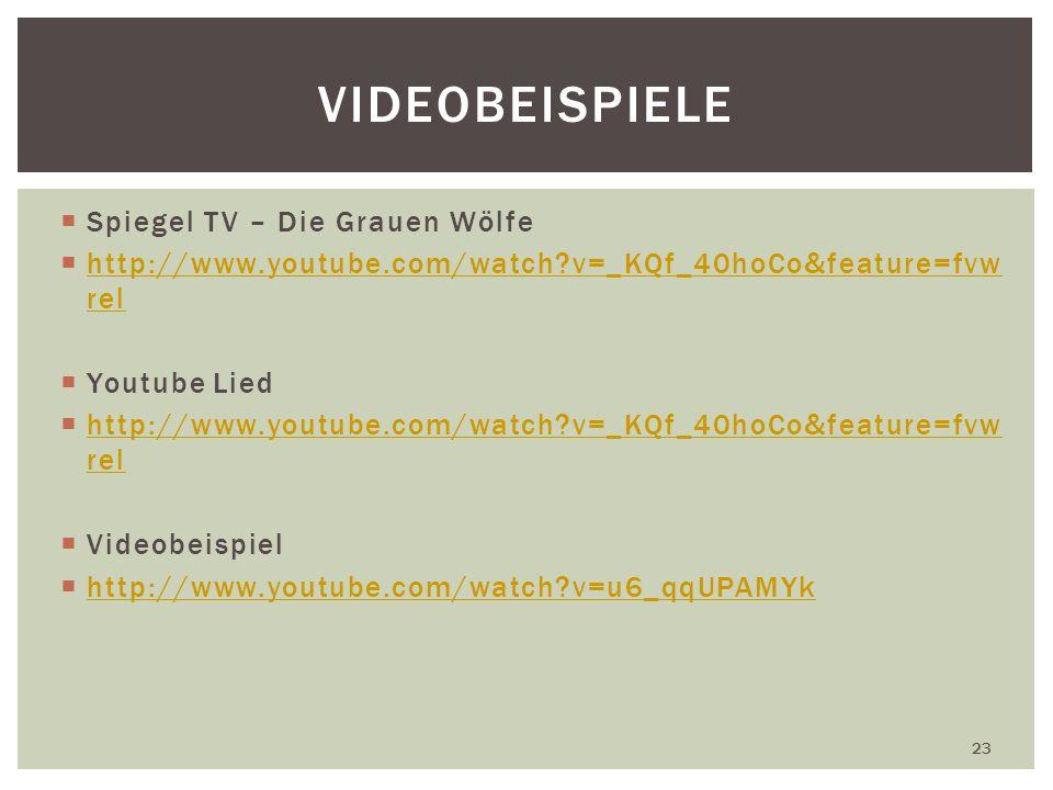 Spiegel TV – Die Grauen Wölfe http://www.youtube.com/watch?v=_KQf_40hoCo&feature=fvw rel http://www.youtube.com/watch?v=_KQf_40hoCo&feature=fvw rel Youtube Lied http://www.youtube.com/watch?v=_KQf_40hoCo&feature=fvw rel http://www.youtube.com/watch?v=_KQf_40hoCo&feature=fvw rel Videobeispiel http://www.youtube.com/watch?v=u6_qqUPAMYk 23 VIDEOBEISPIELE