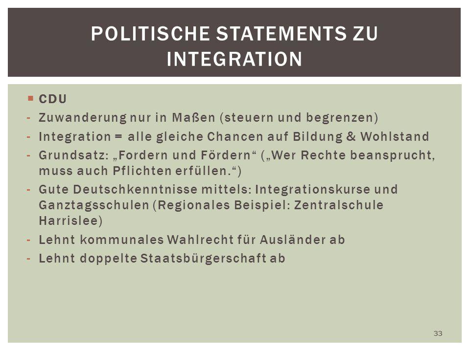 CDU -Zuwanderung nur in Maßen (steuern und begrenzen) -Integration = alle gleiche Chancen auf Bildung & Wohlstand -Grundsatz: Fordern und Fördern (Wer Rechte beansprucht, muss auch Pflichten erfüllen.) -Gute Deutschkenntnisse mittels: Integrationskurse und Ganztagsschulen (Regionales Beispiel: Zentralschule Harrislee) -Lehnt kommunales Wahlrecht für Ausländer ab -Lehnt doppelte Staatsbürgerschaft ab 33 POLITISCHE STATEMENTS ZU INTEGRATION