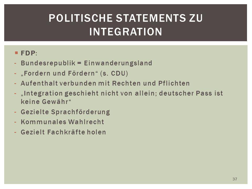 FDP: -Bundesrepublik = Einwanderungsland -Fordern und Fördern (s.