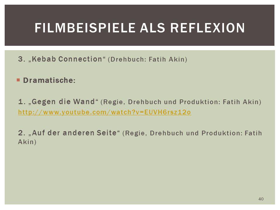 3.Kebab Connection (Drehbuch: Fatih Akin) Dramatische: 1.
