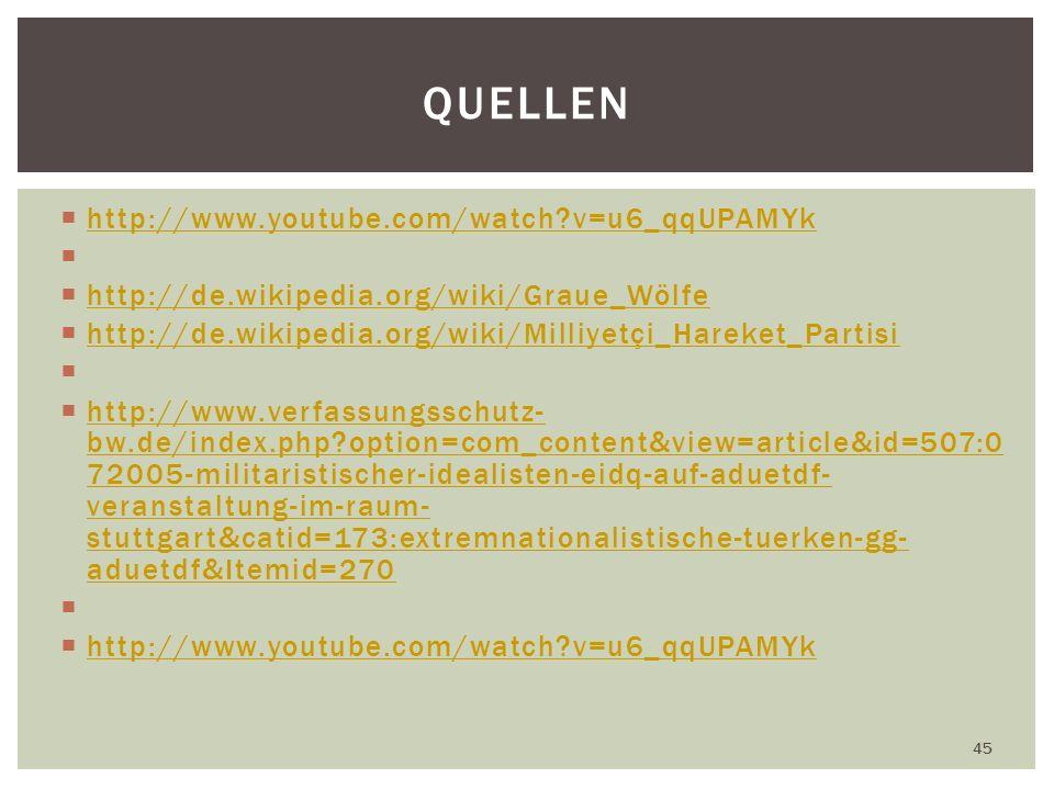 http://www.youtube.com/watch?v=u6_qqUPAMYk http://de.wikipedia.org/wiki/Graue_Wölfe http://de.wikipedia.org/wiki/Milliyetçi_Hareket_Partisi http://www.verfassungsschutz- bw.de/index.php?option=com_content&view=article&id=507:0 72005-militaristischer-idealisten-eidq-auf-aduetdf- veranstaltung-im-raum- stuttgart&catid=173:extremnationalistische-tuerken-gg- aduetdf&Itemid=270 http://www.verfassungsschutz- bw.de/index.php?option=com_content&view=article&id=507:0 72005-militaristischer-idealisten-eidq-auf-aduetdf- veranstaltung-im-raum- stuttgart&catid=173:extremnationalistische-tuerken-gg- aduetdf&Itemid=270 http://www.youtube.com/watch?v=u6_qqUPAMYk 45 QUELLEN