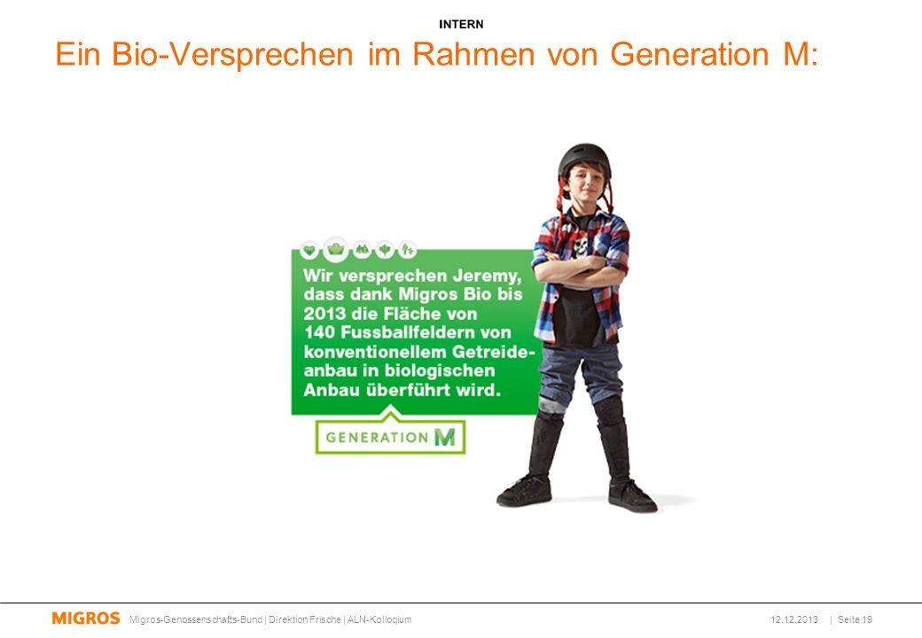 Ein Bio-Versprechen im Rahmen von Generation M: 12.12.2013Migros-Genossenschafts-Bund | Direktion Frische | ALN-Kolloqium| Seite 19