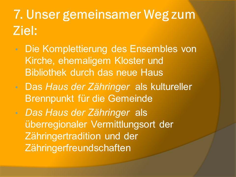 7. Unser gemeinsamer Weg zum Ziel: Die Komplettierung des Ensembles von Kirche, ehemaligem Kloster und Bibliothek durch das neue Haus Das Haus der Zäh