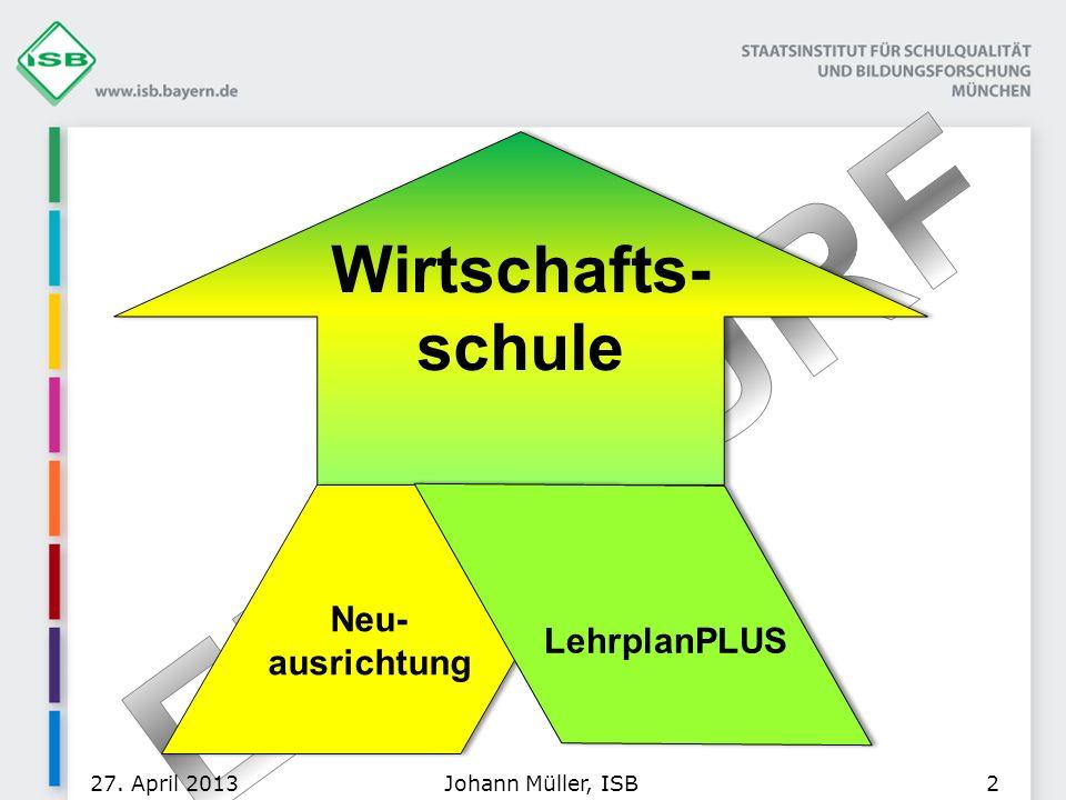 Johann Müller, ISB27. April 20132 Wirtschafts- schule Neu- ausrichtung LehrplanPLUS