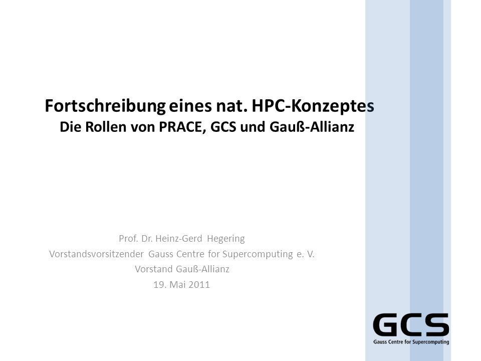 Struktur der Förderung BMBF BY NRW BW Verwaltungsvereinbarung Projektsteuerungskreis 50% Fehlbedarfs- finanzierung Jeweils 1/6 der Gesamtfinanzierung HLRS JSC LRZ GCS Kooperationsvertrag der Forschungspartner