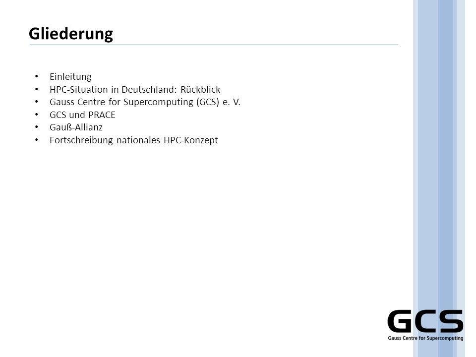 Gliederung Einleitung HPC-Situation in Deutschland: Rückblick Gauss Centre for Supercomputing (GCS) e. V. GCS und PRACE Gauß-Allianz Fortschreibung na
