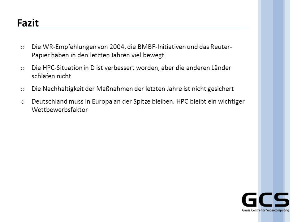 Fazit o Die WR-Empfehlungen von 2004, die BMBF-Initiativen und das Reuter- Papier haben in den letzten Jahren viel bewegt o Die HPC-Situation in D ist