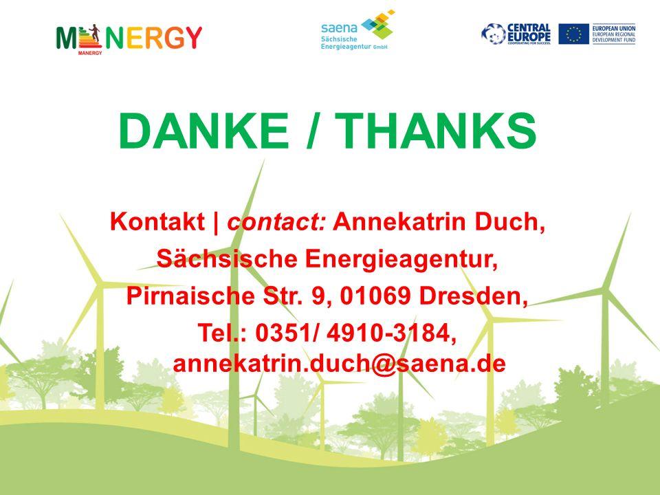 DANKE / THANKS Kontakt | contact: Annekatrin Duch, Sächsische Energieagentur, Pirnaische Str.