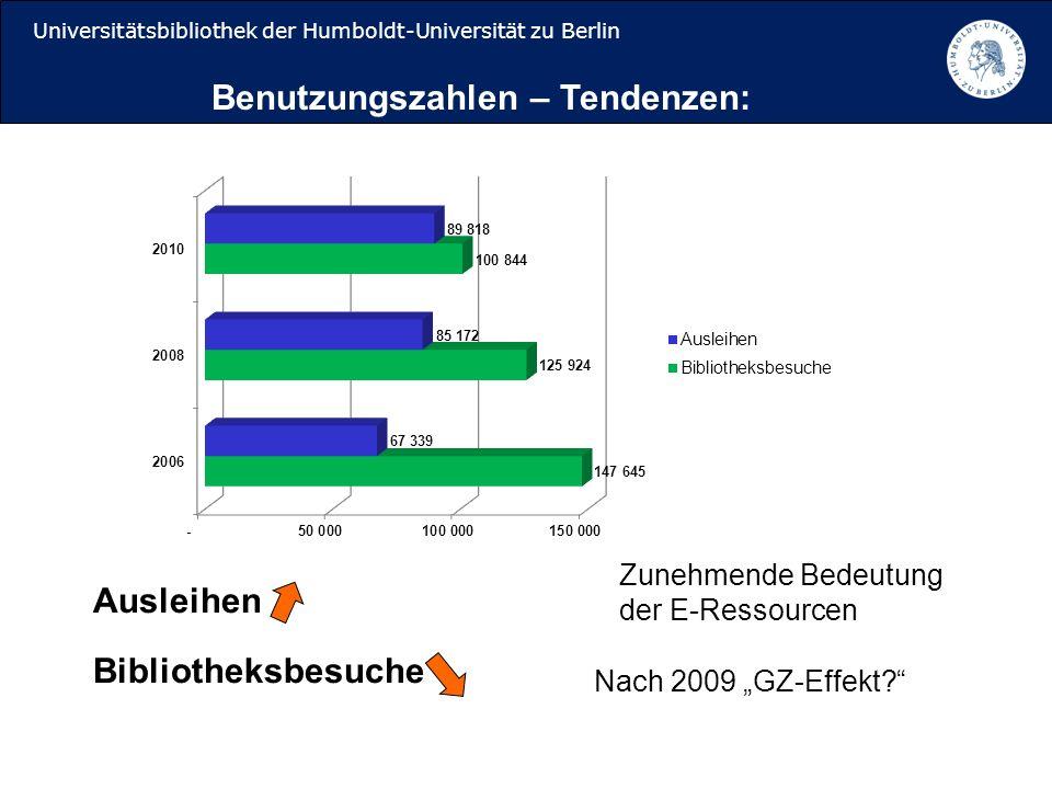 Universitätsbibliothek der Humboldt-Universität zu Berlin Ausleihen Bibliotheksbesuche Benutzungszahlen – Tendenzen: Nach 2009 GZ-Effekt.