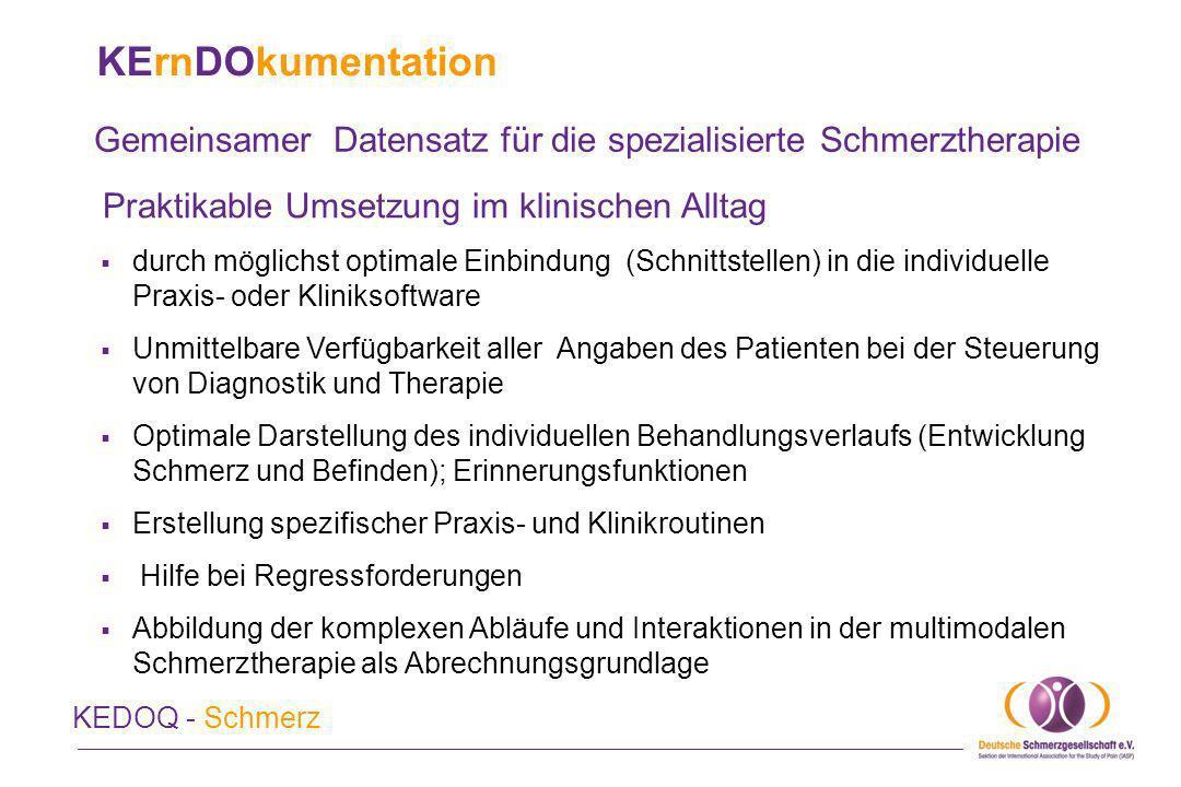 KErnDOkumentation Gemeinsamer Datensatz für die spezialisierte Schmerztherapie KEDOQ - Schmerz Praktikable Umsetzung im klinischen Alltag Vertragspartner: ProgrammFirmaDateneingabeInternetadresse AC-STBAkkayaScan des DSFwww.ac-stb.dewww.ac-stb.de Pain detectPfizer, stat consultManuelle Eingabewww.pain-detect.dewww.pain-detect.de ID diacosID BerlinManuelle Eingabewww.id-berlin.dewww.id-berlin.de