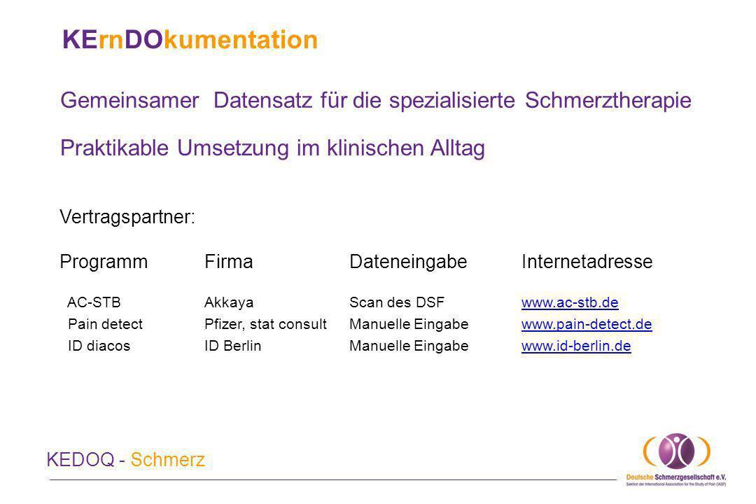 KErnDOkumentation und Qualitätssicherung KEDOQ - Schmerz Externe Qualitätssicherung (EQS) für die teilnehmenden Einrichtungen Eigene Patienten mit ihren demographischen und klinischen Daten beschreiben Eigene Daten jederzeit verfügbar, Auswertungen online Hilfe zur Auswertung der eigenen Daten Auswertungen nach den Anforderungen der QS-Kommission bei der KV Benchmark mit multizentrischen Daten Förderung von Prozess- und Ergebnisqualität der eigenen Einrichtung Bewerbung der eigenen Praxis mit KEDOQ-Schmerz als Qualitätsmerkmal