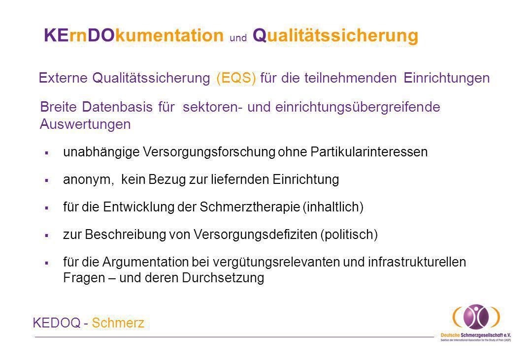KErnDOkumentation und Qualitätssicherung KEDOQ - Schmerz Breite Datenbasis für sektoren- und einrichtungsübergreifende Auswertungen unabhängige Versor