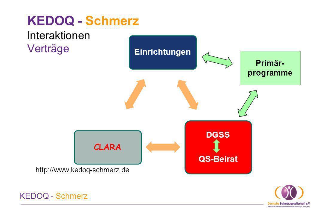 KEDOQ - Schmerz Kosten Die Teilnahme schließt die Nutzung des Deutschen Schmerzfragebogens (DSF) der DGSS ein.