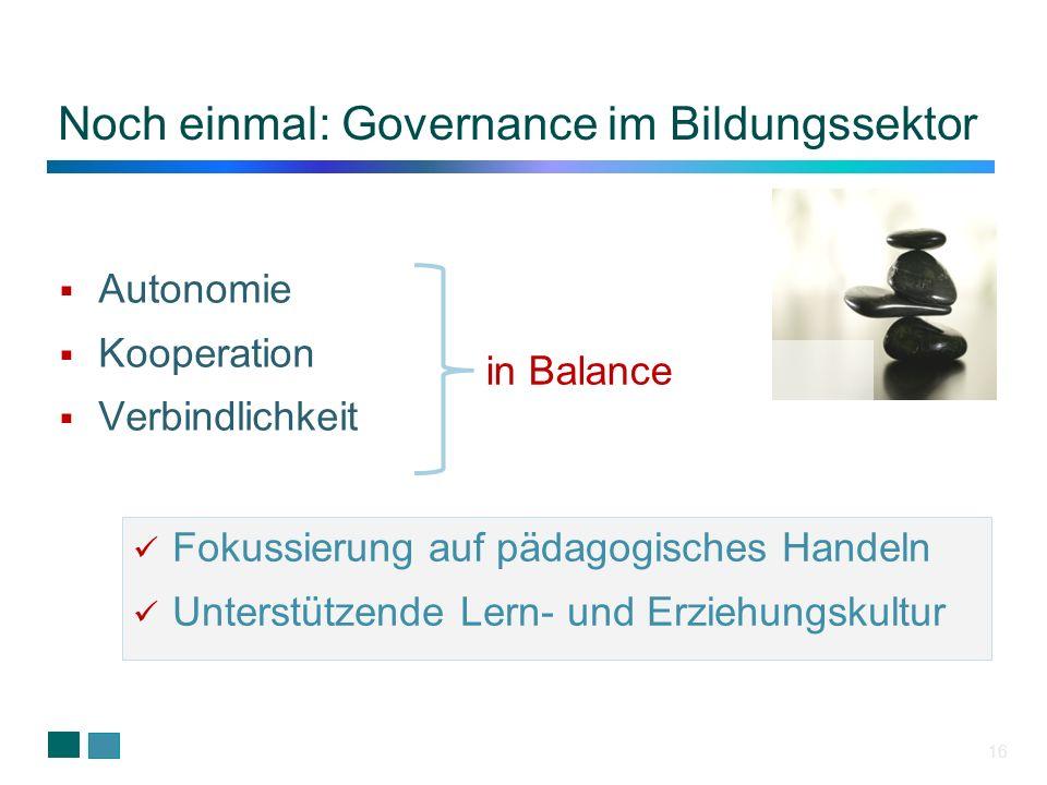 16 Autonomie Kooperation Verbindlichkeit Noch einmal: Governance im Bildungssektor Fokussierung auf pädagogisches Handeln Unterstützende Lern- und Erz