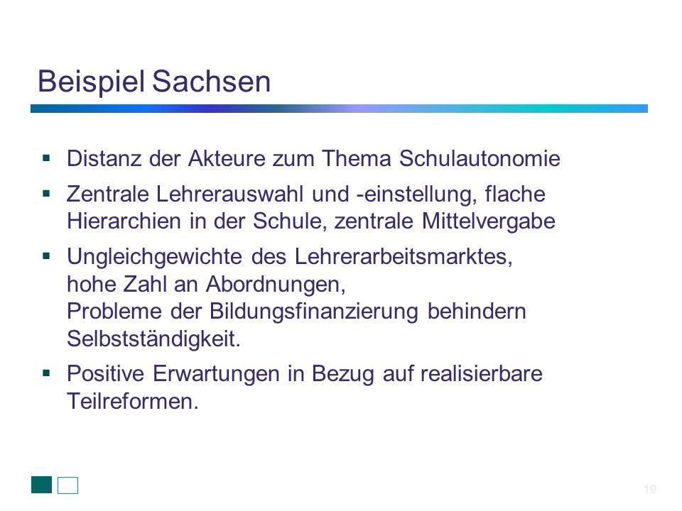 Beispiel Sachsen 19 Distanz der Akteure zum Thema Schulautonomie Zentrale Lehrerauswahl und -einstellung, flache Hierarchien in der Schule, zentrale M